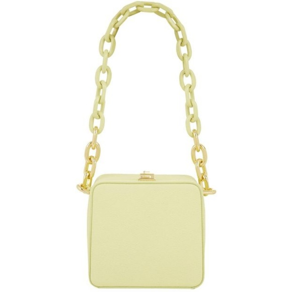 the Volon Handbags - the Volon Lime Leather Cube Chain Bag